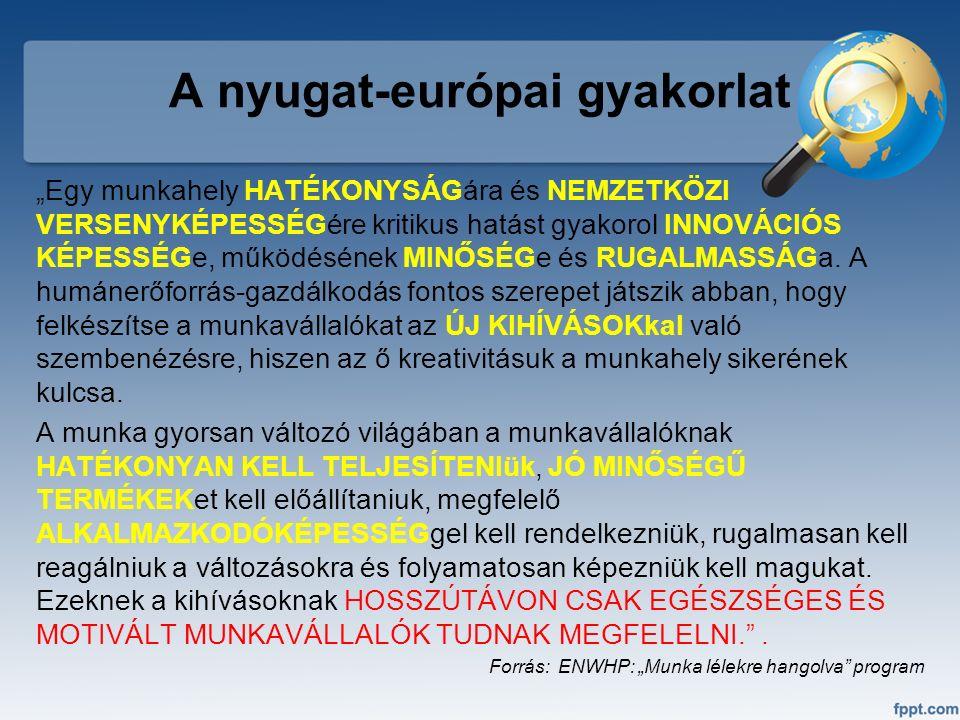 """A nyugat-európai gyakorlat """"Egy munkahely HATÉKONYSÁGára és NEMZETKÖZI VERSENYKÉPESSÉGére kritikus hatást gyakorol INNOVÁCIÓS KÉPESSÉGe, működésének M"""