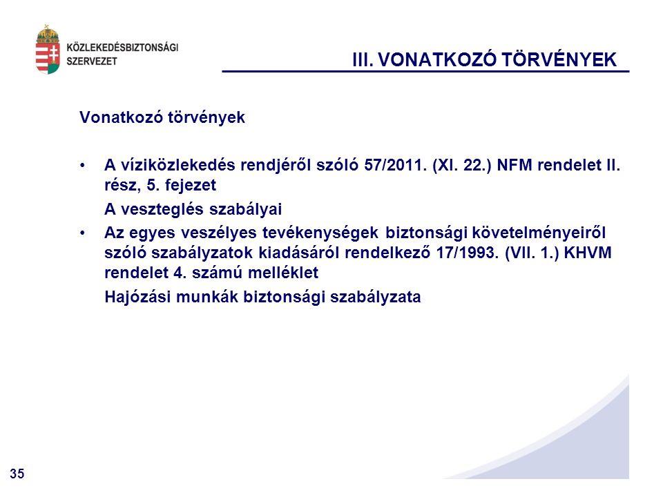 35 III.VONATKOZÓ TÖRVÉNYEK Vonatkozó törvények A víziközlekedés rendjéről szóló 57/2011.