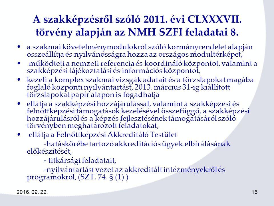 2016. 09. 22.15 A szakképzésről szóló 2011. évi CLXXXVII.