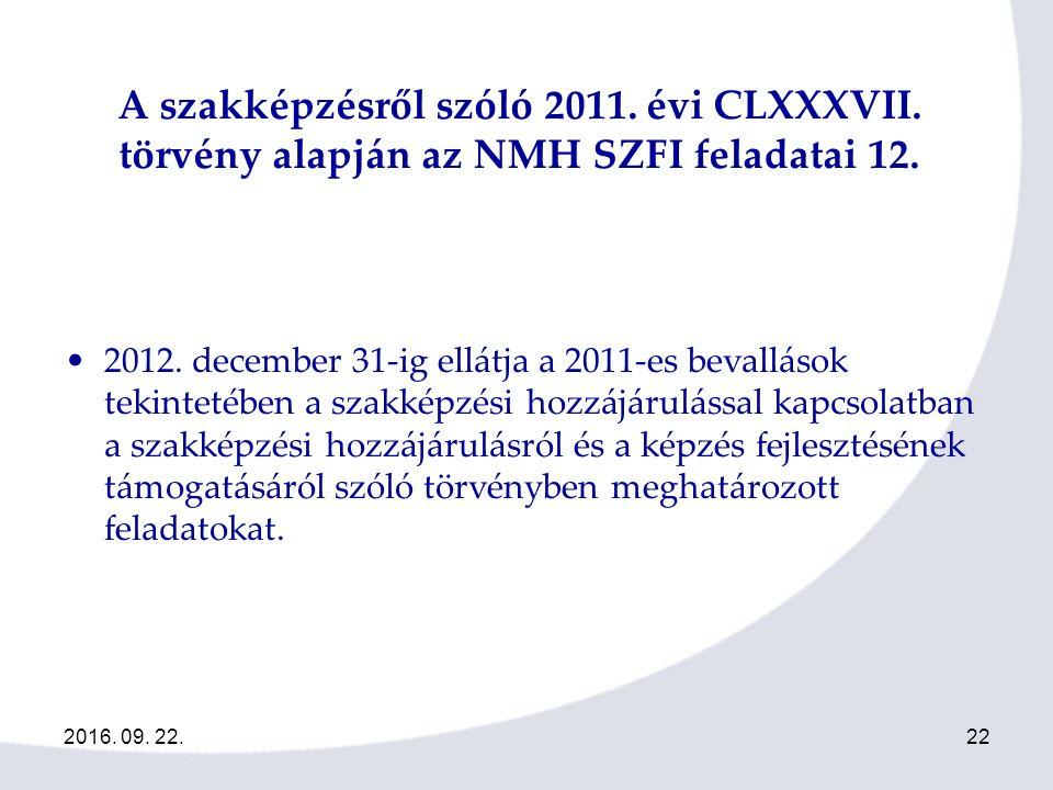 2016. 09. 22.22 A szakképzésről szóló 2011. évi CLXXXVII.