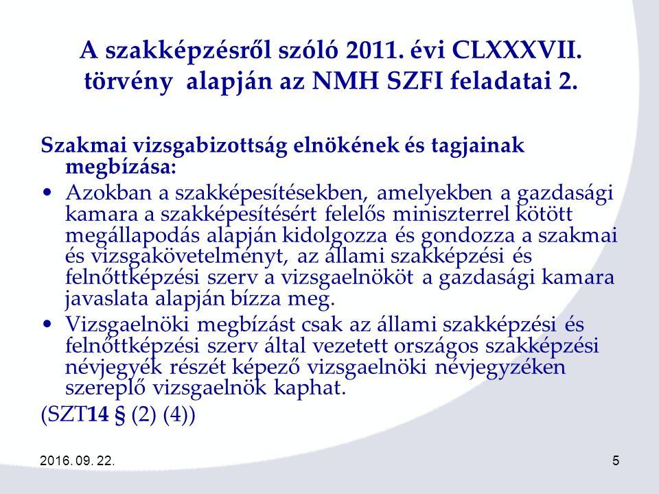 2016.09. 22.262016. 09. 22.26 Iskolarendszeren kívüli szakmai vizsgák szervezése 2011-12 I.