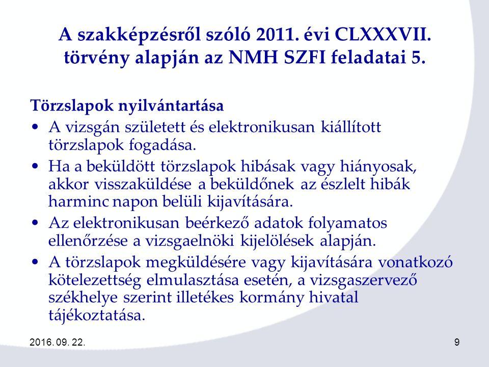 9 A szakképzésről szóló 2011. évi CLXXXVII. törvény alapján az NMH SZFI feladatai 5.