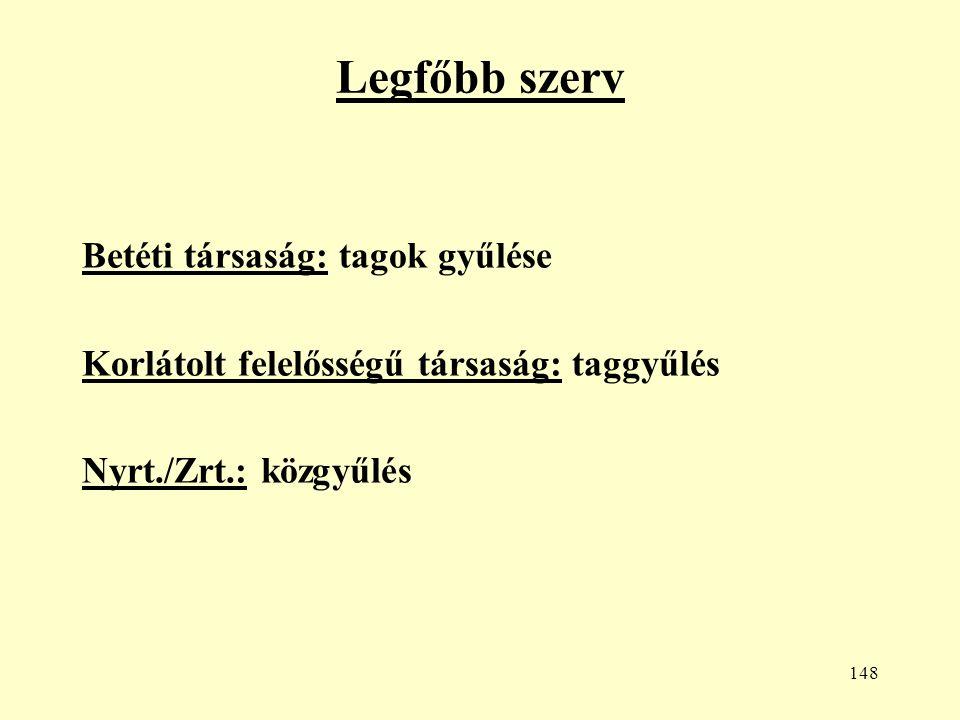 148 Legfőbb szerv Betéti társaság: tagok gyűlése Korlátolt felelősségű társaság: taggyűlés Nyrt./Zrt.: közgyűlés