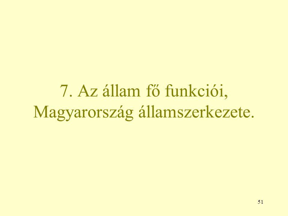 51 7. Az állam fő funkciói, Magyarország államszerkezete.
