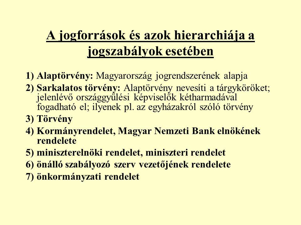 1) Alaptörvény: Magyarország jogrendszerének alapja 2) Sarkalatos törvény: Alaptörvény nevesíti a tárgyköröket; jelenlévő országgyűlési képviselők kétharmadával fogadható el; ilyenek pl.
