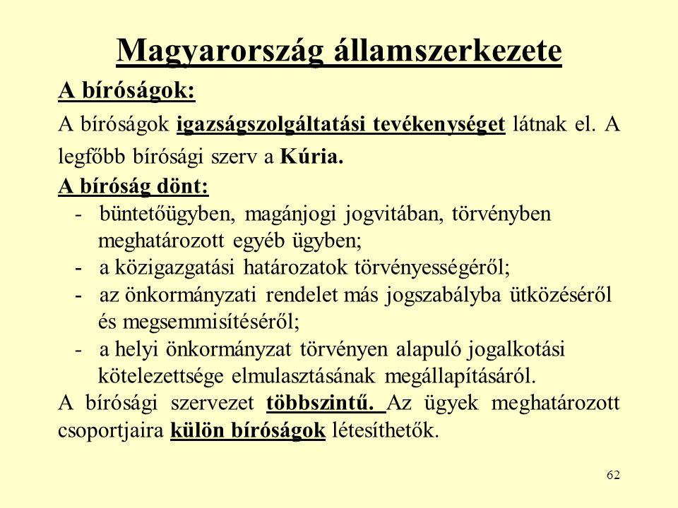 62 Magyarország államszerkezete A bíróságok: A bíróságok igazságszolgáltatási tevékenységet látnak el.