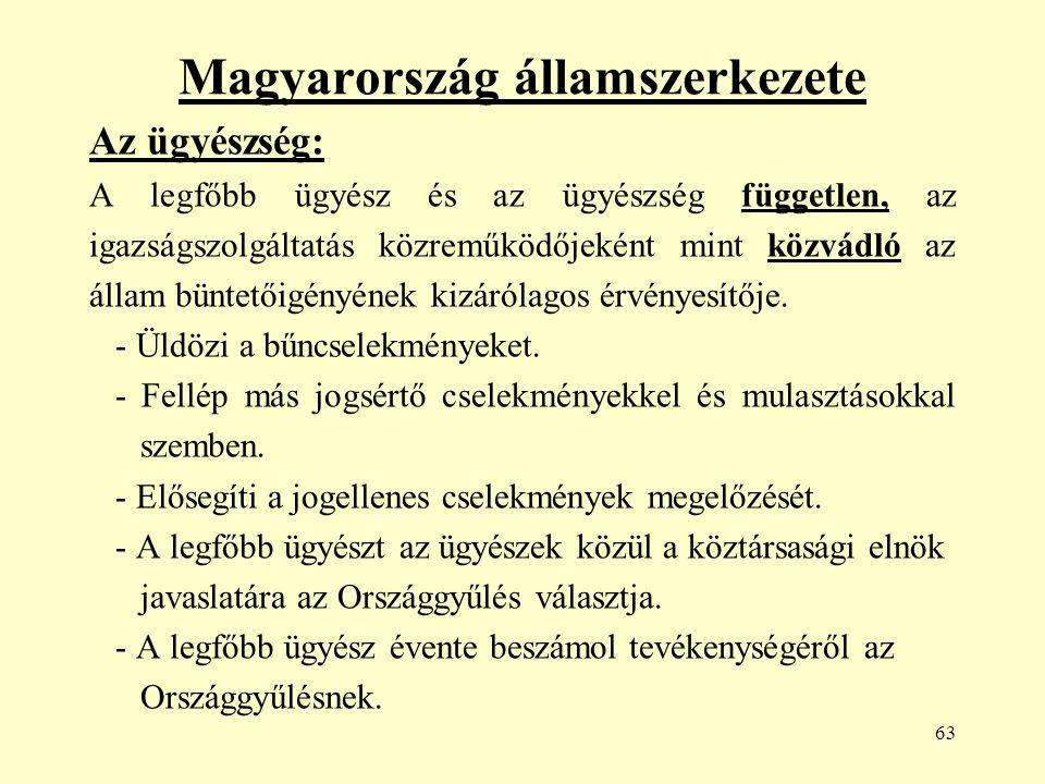 63 Magyarország államszerkezete Az ügyészség: A legfőbb ügyész és az ügyészség független, az igazságszolgáltatás közreműködőjeként mint közvádló az állam büntetőigényének kizárólagos érvényesítője.