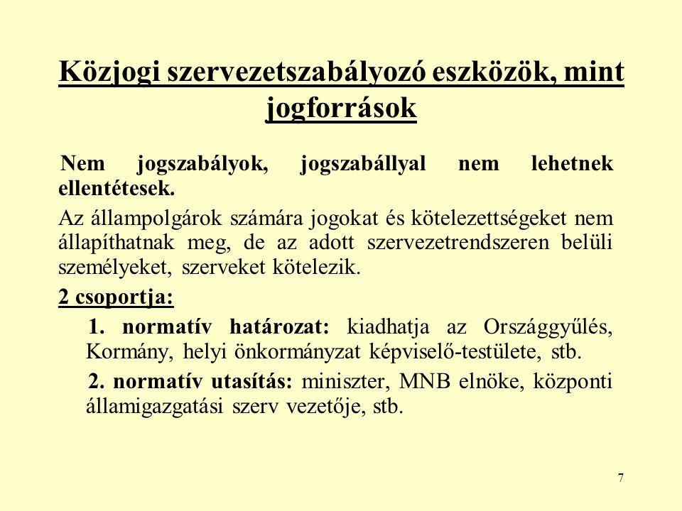 58 Magyarország államszerkezete Országgyűlés: Magyarország legfőbb népképviseleti szerve az Országgyűlés: - megalkotja és módosítja Magyarország Alaptörvényét, -törvényeket alkot, - megválasztja a köztársasági elnököt, az Alkotmánybíróság tagjait és elnökét, a Kúria elnökét, a legfőbb ügyészt, az alapvető jogok biztosát és helyetteseit, valamint az Állami Számvevőszék elnökét, - megválasztja a miniszterelnököt, dönt a Kormánnyal kapcsolatos bizalmi kérdésről.