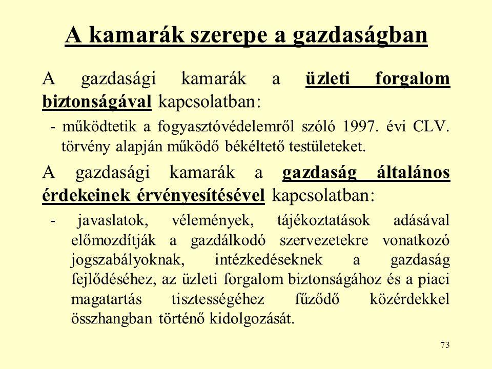 73 A kamarák szerepe a gazdaságban A gazdasági kamarák a üzleti forgalom biztonságával kapcsolatban: - működtetik a fogyasztóvédelemről szóló 1997.