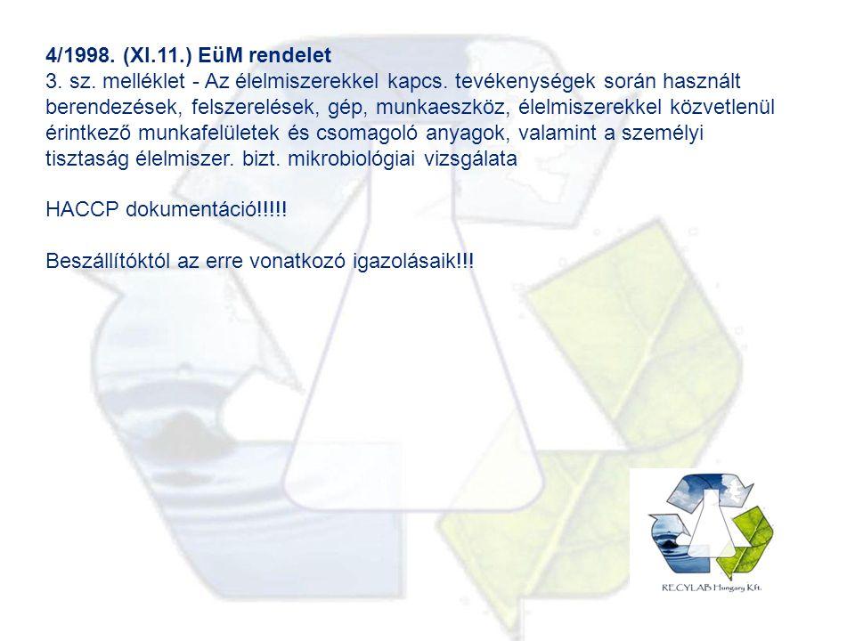 4/1998. (XI.11.) EüM rendelet 3. sz. melléklet - Az élelmiszerekkel kapcs.