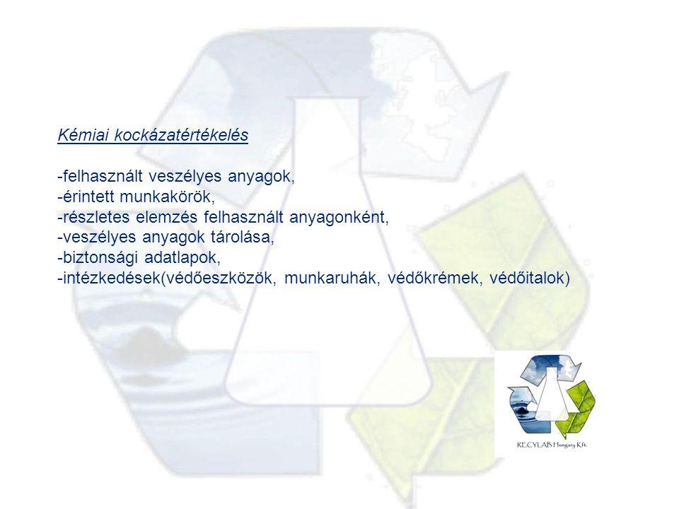 Kémiai kockázatértékelés -felhasznált veszélyes anyagok, -érintett munkakörök, -részletes elemzés felhasznált anyagonként, -veszélyes anyagok tárolása, -biztonsági adatlapok, -intézkedések(védőeszközök, munkaruhák, védőkrémek, védőitalok)