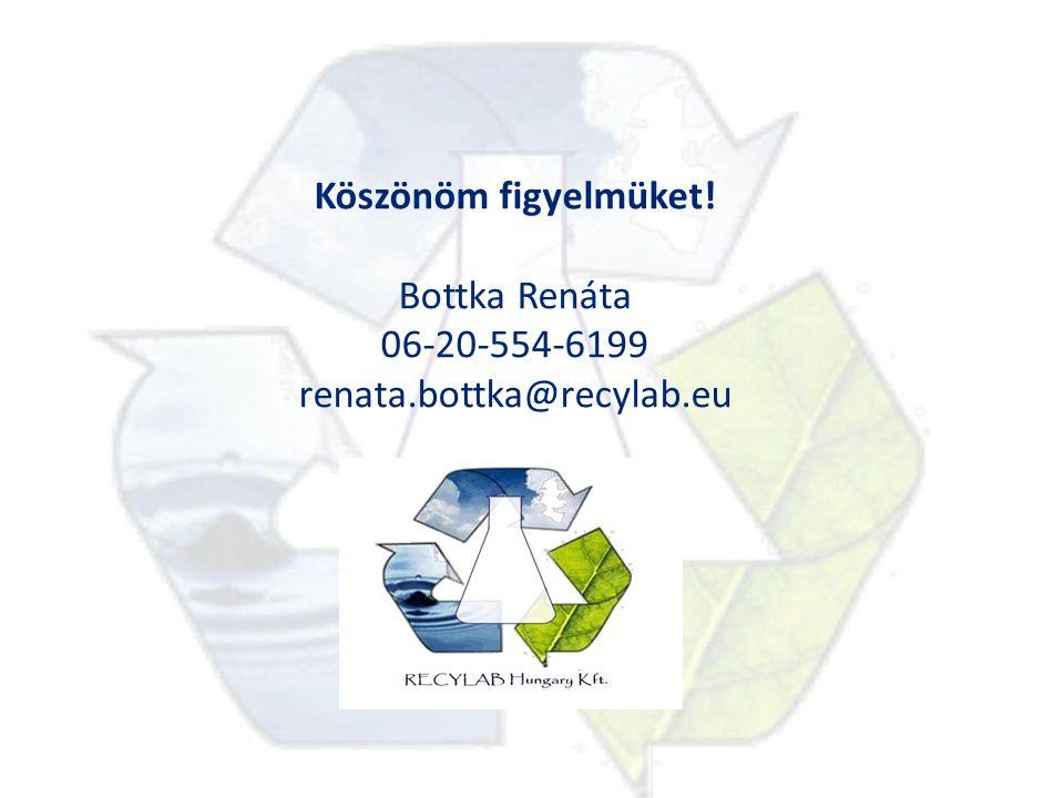 Köszönöm figyelmüket! Bottka Renáta 06-20-554-6199 renata.bottka@recylab.eu