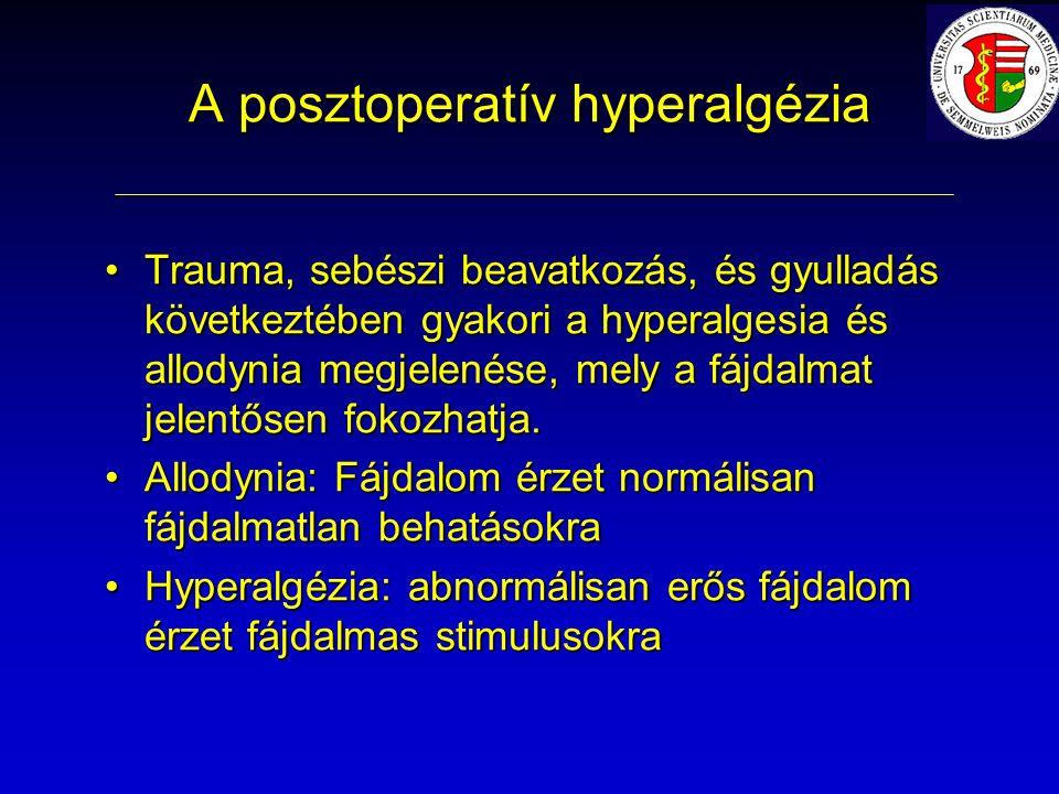 A posztoperatív hyperalgézia Trauma, sebészi beavatkozás, és gyulladás következtében gyakori a hyperalgesia és allodynia megjelenése, mely a fájdalmat jelentősen fokozhatja.Trauma, sebészi beavatkozás, és gyulladás következtében gyakori a hyperalgesia és allodynia megjelenése, mely a fájdalmat jelentősen fokozhatja.
