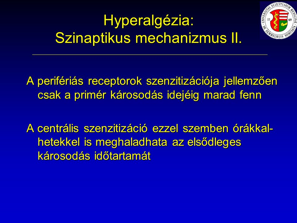 Hyperalgézia: Szinaptikus mechanizmus II.