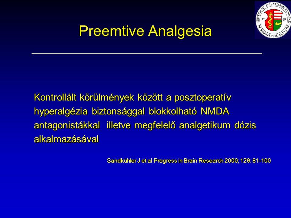 Preemtive Analgesia Kontrollált körülmények között a posztoperatív hyperalgézia biztonsággal blokkolható NMDA antagonistákkal illetve megfelelő analgetikum dózis alkalmazásával Sandkühler J et al Progress in Brain Research 2000; 129: 81-100