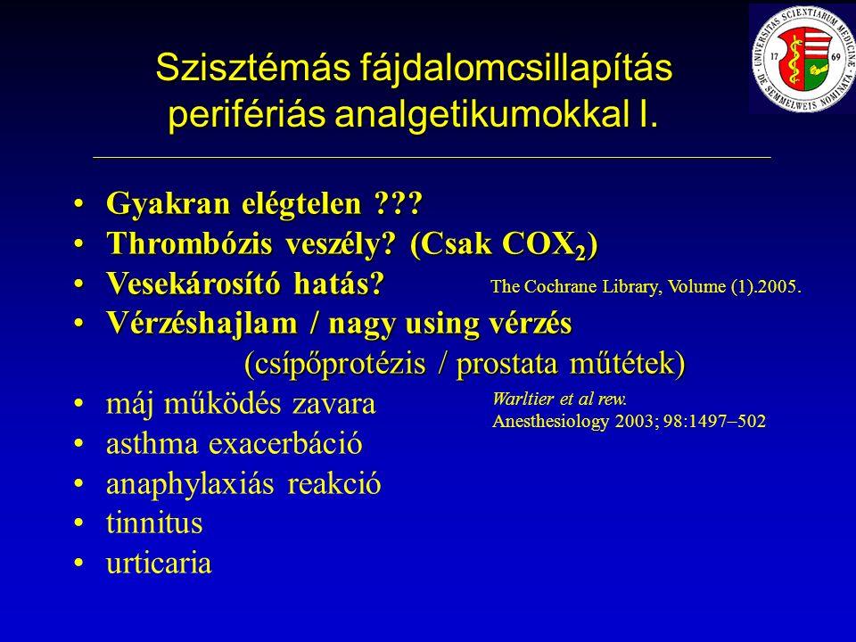 Szisztémás fájdalomcsillapítás perifériás analgetikumokkal I.