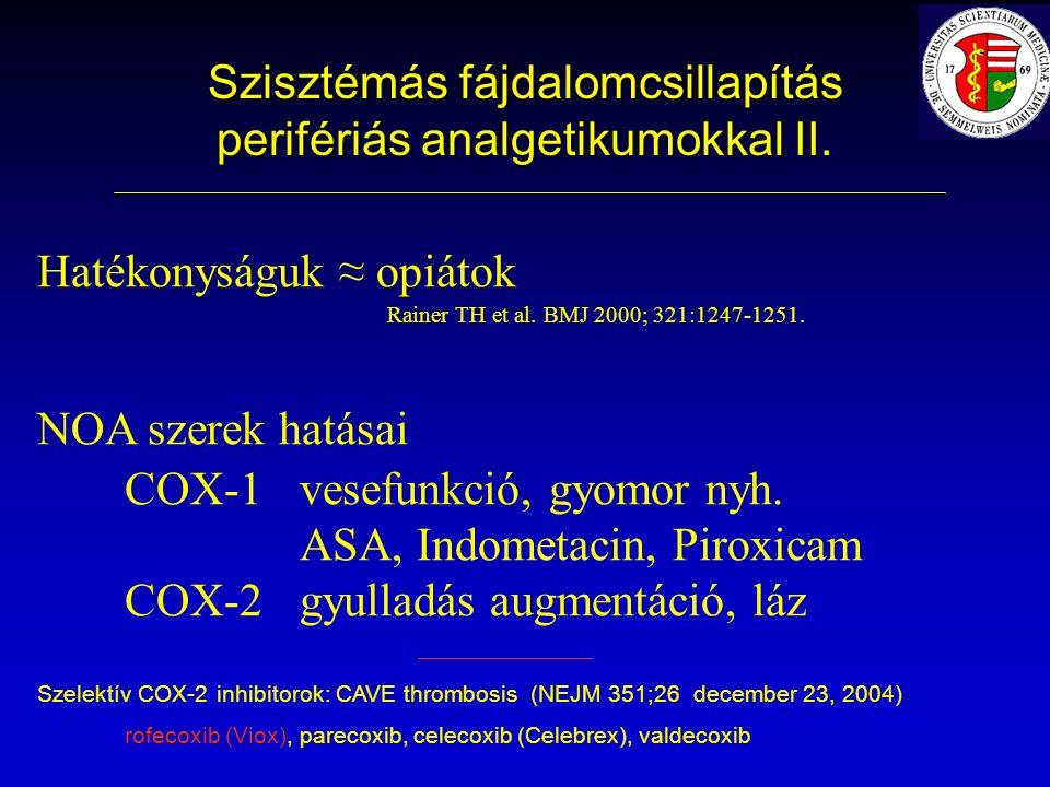 Szisztémás fájdalomcsillapítás perifériás analgetikumokkal II.