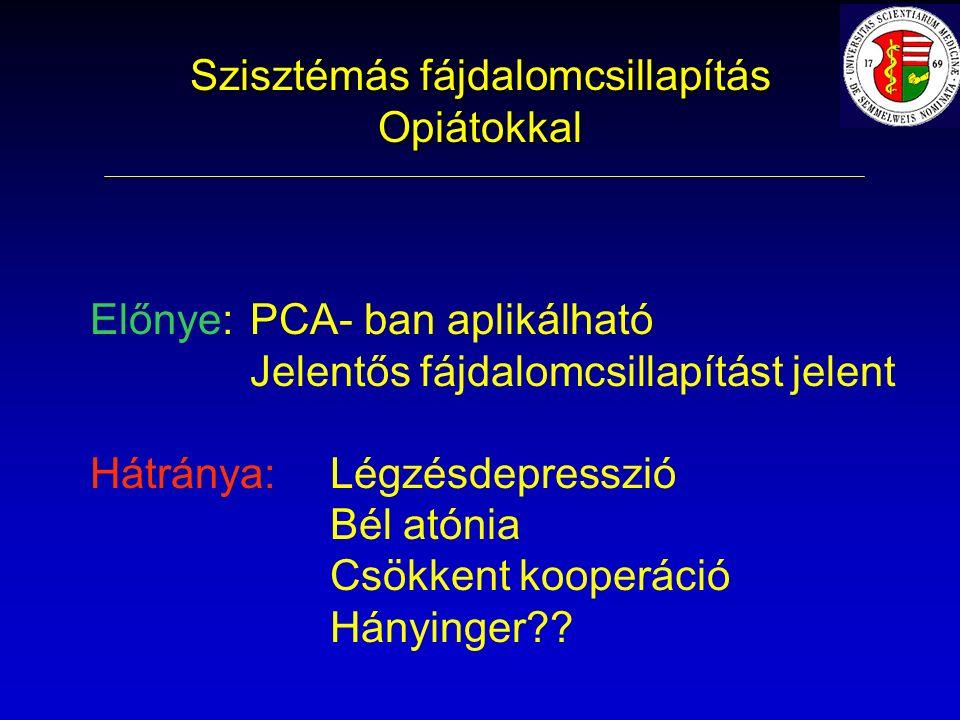 Előnye: PCA- ban aplikálható Jelentős fájdalomcsillapítást jelent Hátránya: Légzésdepresszió Bél atónia Csökkent kooperáció Hányinger .