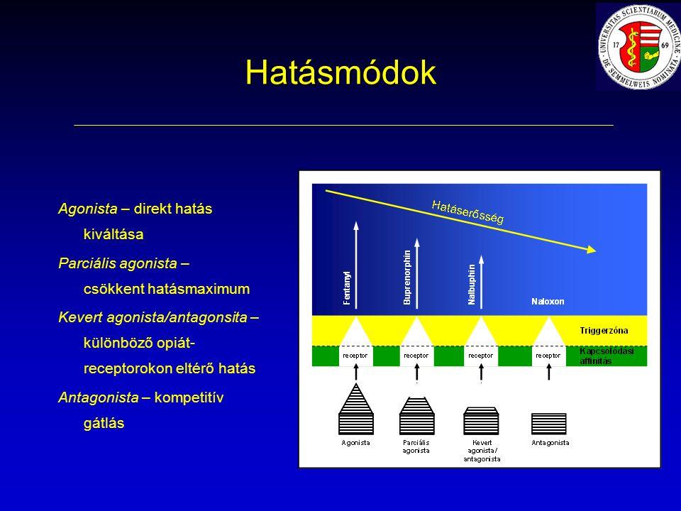 Hatásmódok Agonista – direkt hatás kiváltása Parciális agonista – csökkent hatásmaximum Kevert agonista/antagonsita – különböző opiát- receptorokon eltérő hatás Antagonista – kompetitív gátlás