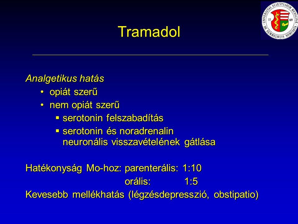 Tramadol Analgetikus hatás opiát szerűopiát szerű nem opiát szerűnem opiát szerű  serotonin felszabadítás  serotonin és noradrenalin neuronális visszavételének gátlása Hatékonyság Mo-hoz: parenterális: 1:10 orális: 1:5 orális: 1:5 Kevesebb mellékhatás (légzésdepresszió, obstipatio)