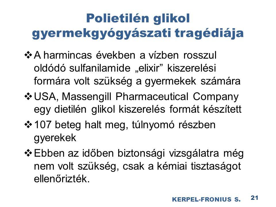 """21 Polietilén glikol gyermekgyógyászati tragédiája  A harmincas években a vízben rosszul oldódó sulfanilamide """"elixir kiszerelési formára volt szükség a gyermekek számára  USA, Massengill Pharmaceutical Company egy dietilén glikol kiszerelés formát készített  107 beteg halt meg, túlnyomó részben gyerekek  Ebben az időben biztonsági vizsgálatra még nem volt szükség, csak a kémiai tisztaságot ellenőrizték."""