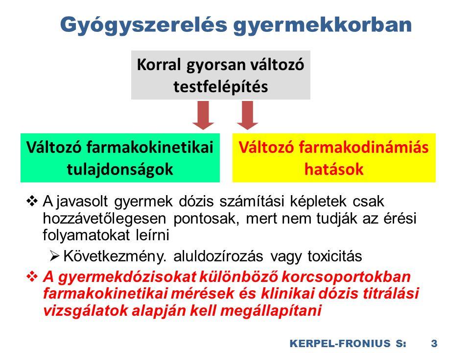 KERPEL-FRONIUS S: 3 Gyógyszerelés gyermekkorban  A javasolt gyermek dózis számítási képletek csak hozzávetőlegesen pontosak, mert nem tudják az érési folyamatokat leírni  Következmény.