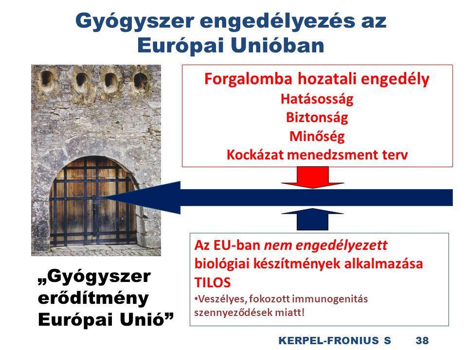 """Gyógyszer engedélyezés az Európai Unióban KERPEL-FRONIUS S 38 Forgalomba hozatali engedély Hatásosság Biztonság Minőség Kockázat menedzsment terv """"Gyógyszer erődítmény Európai Unió Az EU-ban nem engedélyezett biológiai készítmények alkalmazása TILOS Veszélyes, fokozott immunogenitás szennyeződések miatt!"""