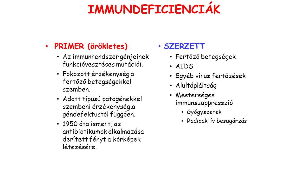 IMMUNDEFICIENCIÁK PRIMER (örökletes) Az immunrendszer génjeinek funkcióvesztéses mutációi.