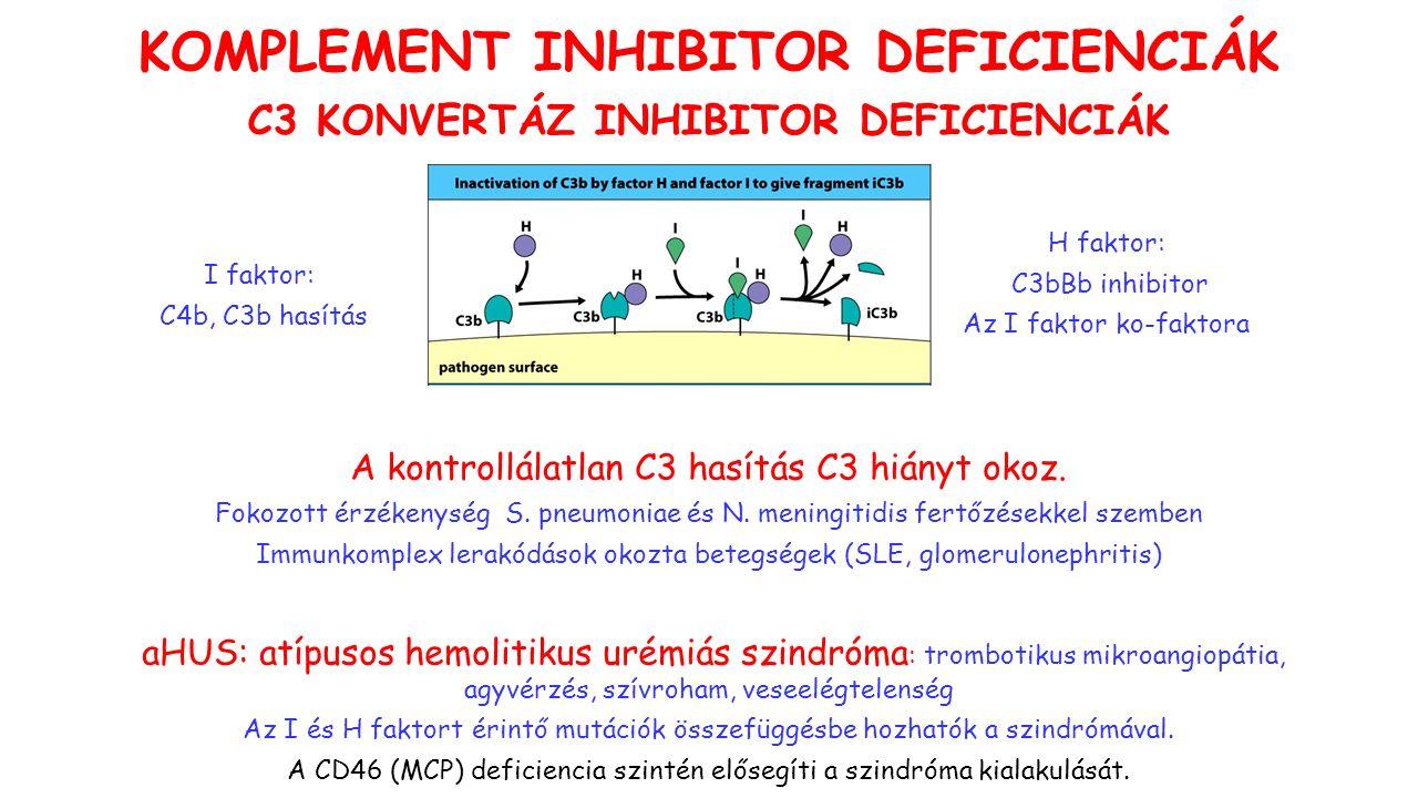 KOMPLEMENT INHIBITOR DEFICIENCIÁK A kontrollálatlan C3 hasítás C3 hiányt okoz.