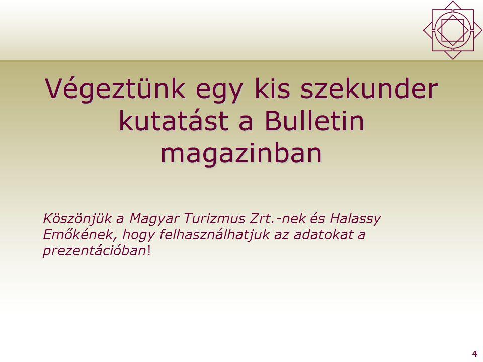 4 Végeztünk egy kis szekunder kutatást a Bulletin magazinban Köszönjük a Magyar Turizmus Zrt.-nek és Halassy Emőkének, hogy felhasználhatjuk az adatokat a prezentációban!