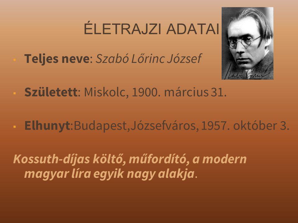 ÉLETRAJZI ADATAI ▪ Teljes neve: Szabó Lőrinc József ▪ Született: Miskolc, 1900.