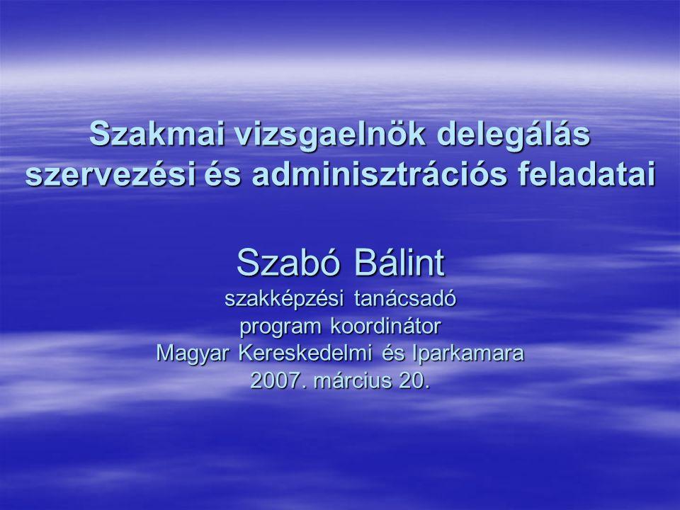 Szakmai vizsgaelnök delegálás szervezési és adminisztrációs feladatai Szabó Bálint szakképzési tanácsadó program koordinátor Magyar Kereskedelmi és Iparkamara 2007.