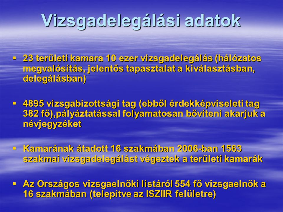 Vizsgadelegálási adatok  23 területi kamara 10 ezer vizsgadelegálás (hálózatos megvalósítás, jelentős tapasztalat a kiválasztásban, delegálásban)  4895 vizsgabizottsági tag (ebből érdekképviseleti tag 382 fő),pályáztatással folyamatosan bővíteni akarjuk a névjegyzéket  Kamarának átadott 16 szakmában 2006-ban 1563 szakmai vizsgadelegálást végeztek a területi kamarák  Az Országos vizsgaelnöki listáról 554 fő vizsgaelnök a 16 szakmában (telepítve az ISZIIR felületre)