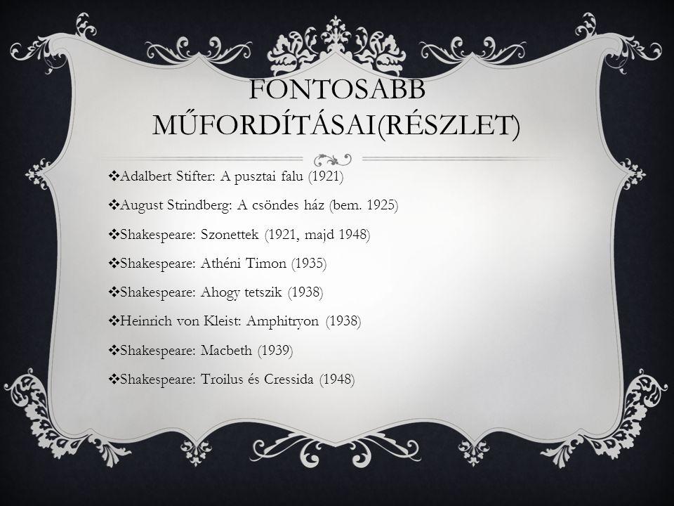 FONTOSABB MŰFORDÍTÁSAI(RÉSZLET) ❖ Adalbert Stifter: A pusztai falu (1921) ❖ August Strindberg: A csöndes ház (bem. 1925) ❖ Shakespeare: Szonettek (192