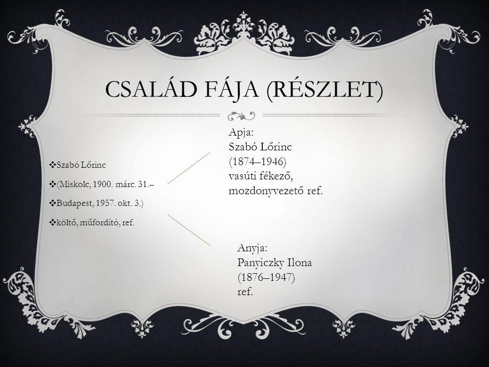 CSALÁD FÁJA (RÉSZLET) ❖ Szabó Lőrinc ❖ (Miskolc, 1900.