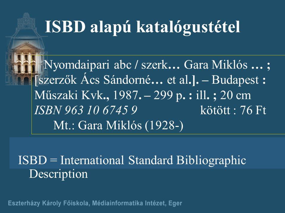 ISBD alapú katalógustétel Nyomdaipari abc / szerk… Gara Miklós … ; [szerzők Ács Sándorné… et al.].