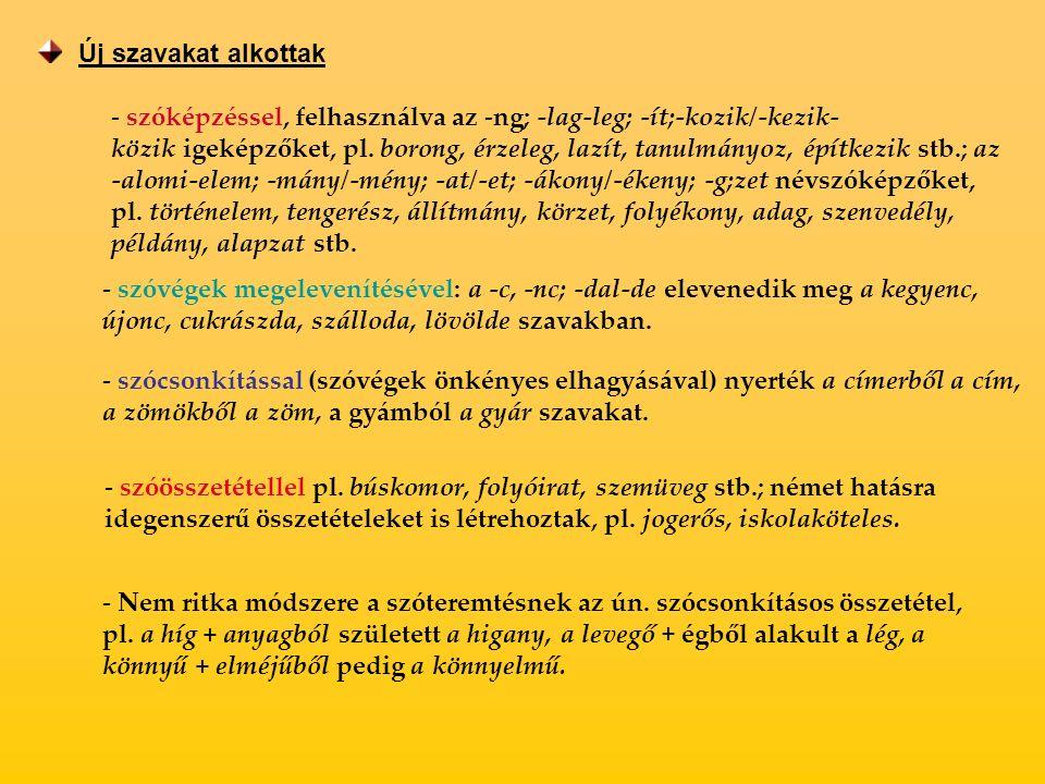 Új szavakat alkottak - szóképzéssel, felhasználva az -ng; -lag-leg; -ít;-kozik/-kezik- közik igeképzőket, pl.