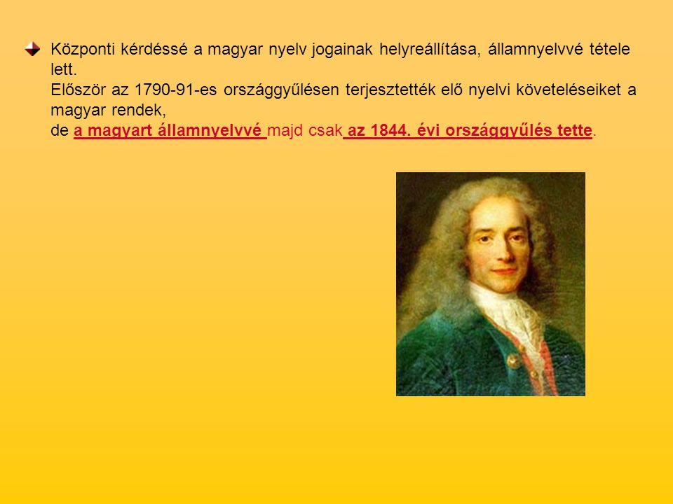 Központi kérdéssé a magyar nyelv jogainak helyreállítása, államnyelvvé tétele lett.