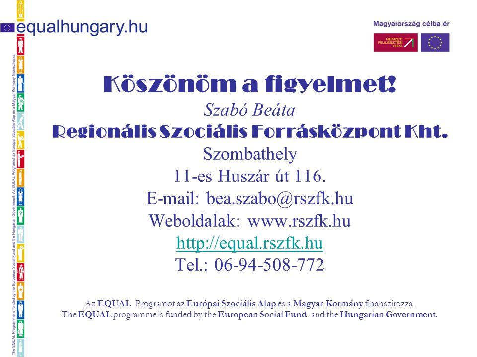 Köszönöm a figyelmet. Szabó Beáta Regionális Szociális Forrásközpont Kht.