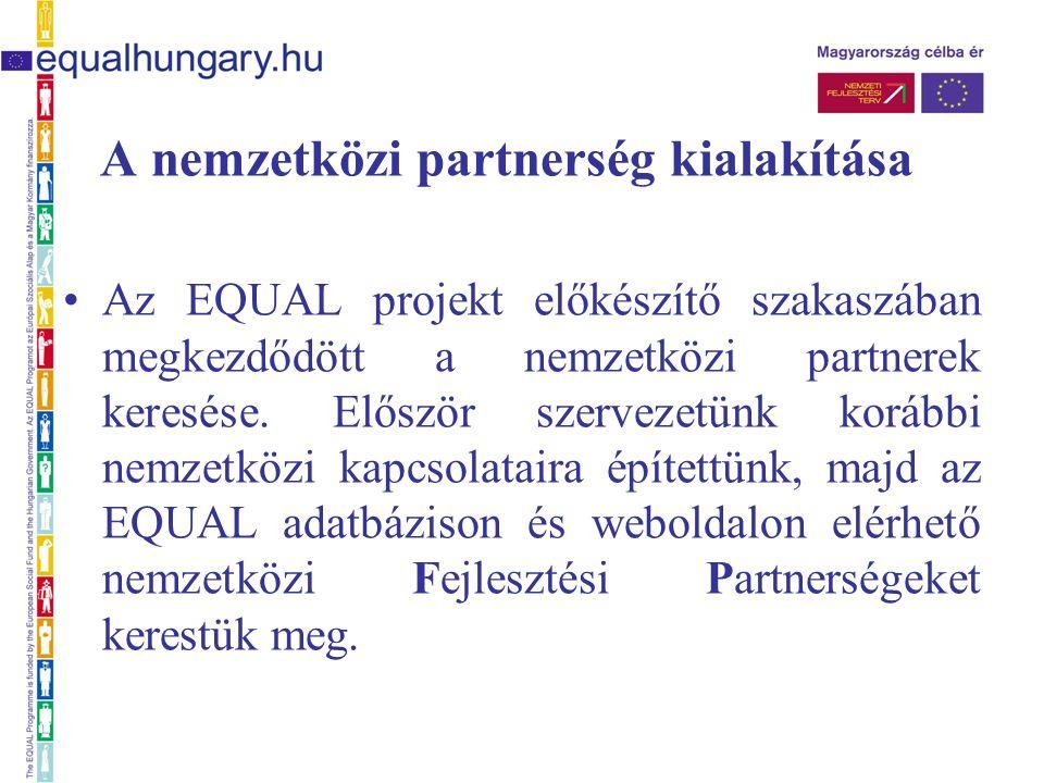 A nemzetközi partnerség kialakítása Az EQUAL projekt előkészítő szakaszában megkezdődött a nemzetközi partnerek keresése.