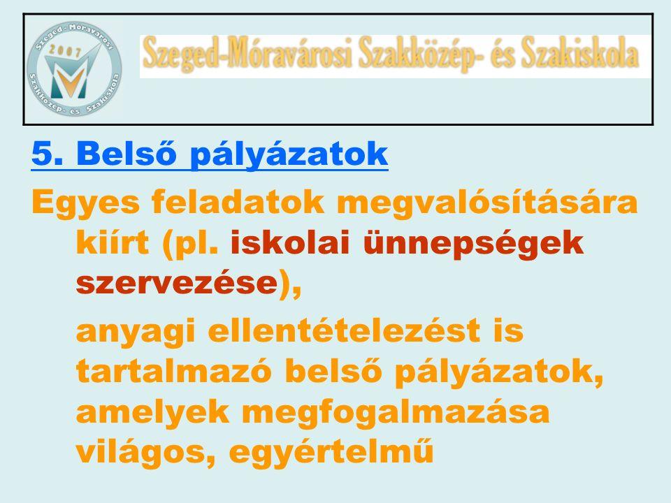 5. Belső pályázatok Egyes feladatok megvalósítására kiírt (pl. iskolai ünnepségek szervezése), anyagi ellentételezést is tartalmazó belső pályázatok,
