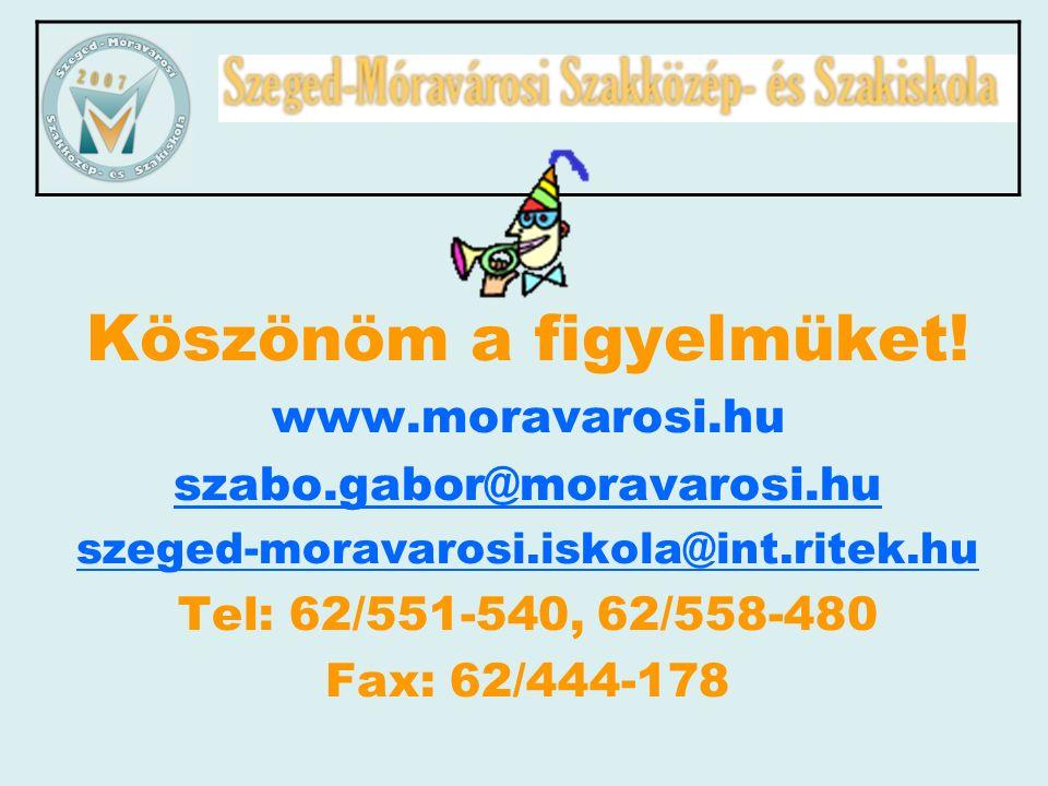 Köszönöm a figyelmüket! www.moravarosi.hu szabo.gabor@moravarosi.hu szeged-moravarosi.iskola@int.ritek.hu Tel: 62/551-540, 62/558-480 Fax: 62/444-178
