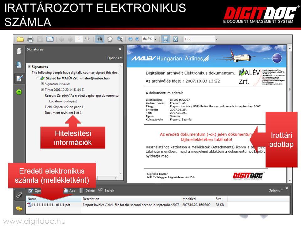 Eredeti elektronikus számla (mellékletként) Irattári adatlap Hitelesítési információk IRATTÁROZOTT ELEKTRONIKUS SZÁMLA www.digitdoc.hu