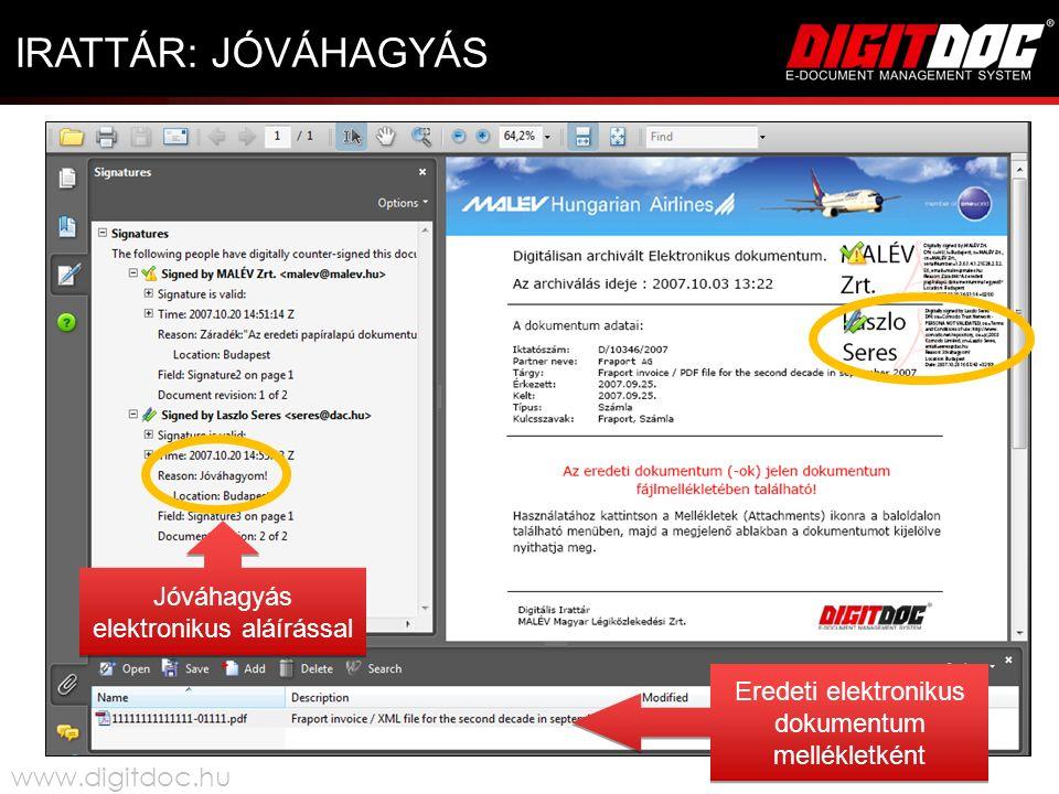 IRATTÁR: JÓVÁHAGYÁS Jóváhagyás elektronikus aláírással Eredeti elektronikus dokumentum mellékletként www.digitdoc.hu