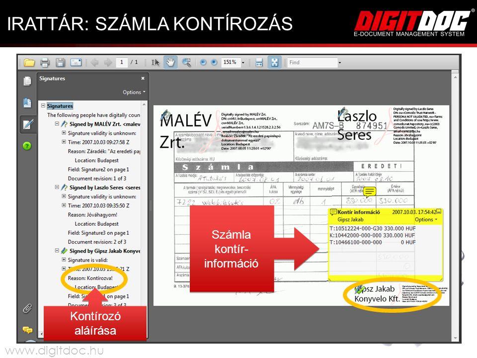IRATTÁR: SZÁMLA KONTÍROZÁS Kontírozó aláírása Számla kontír- információ Számla kontír- információ www.digitdoc.hu