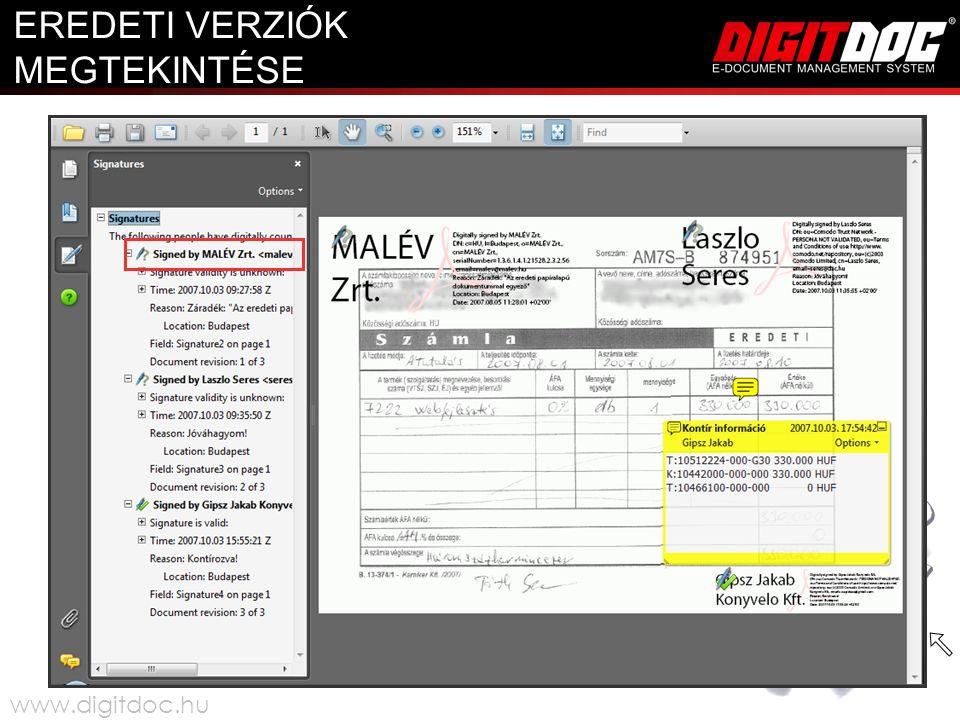 EREDETI VERZIÓK MEGTEKINTÉSE www.digitdoc.hu