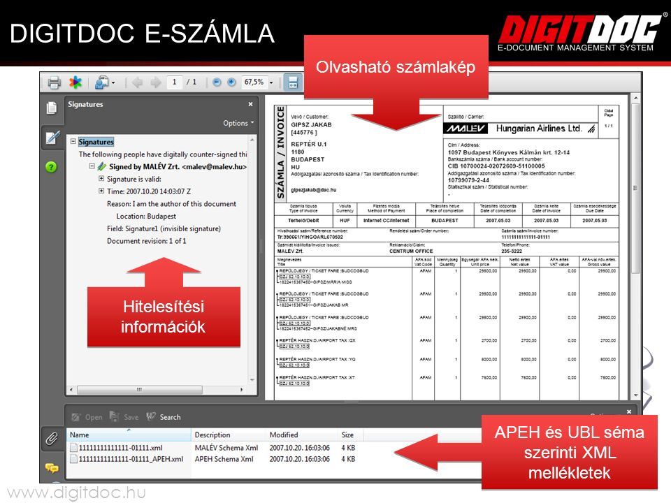 DIGITDOC E-SZÁMLA Hitelesítési információk Olvasható számlakép APEH és UBL séma szerinti XML mellékletek www.digitdoc.hu