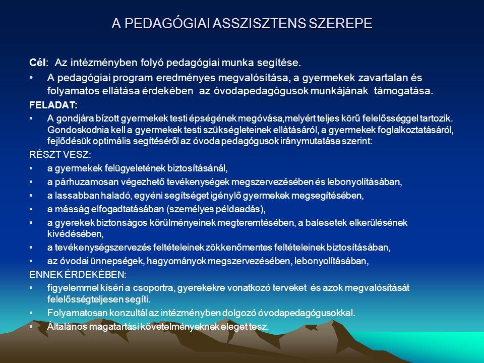 A PEDAGÓGIAI ASSZISZTENS SZEREPE Cél: Az intézményben folyó pedagógiai munka segítése. A pedagógiai program eredményes megvalósítása, a gyermekek zava