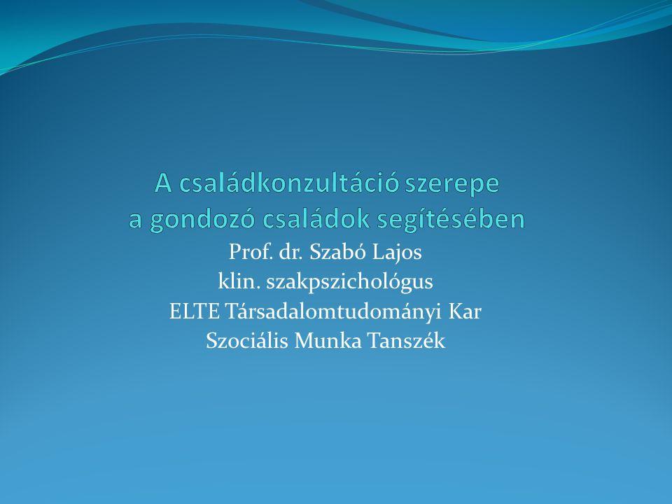 Prof. dr. Szabó Lajos klin. szakpszichológus ELTE Társadalomtudományi Kar Szociális Munka Tanszék