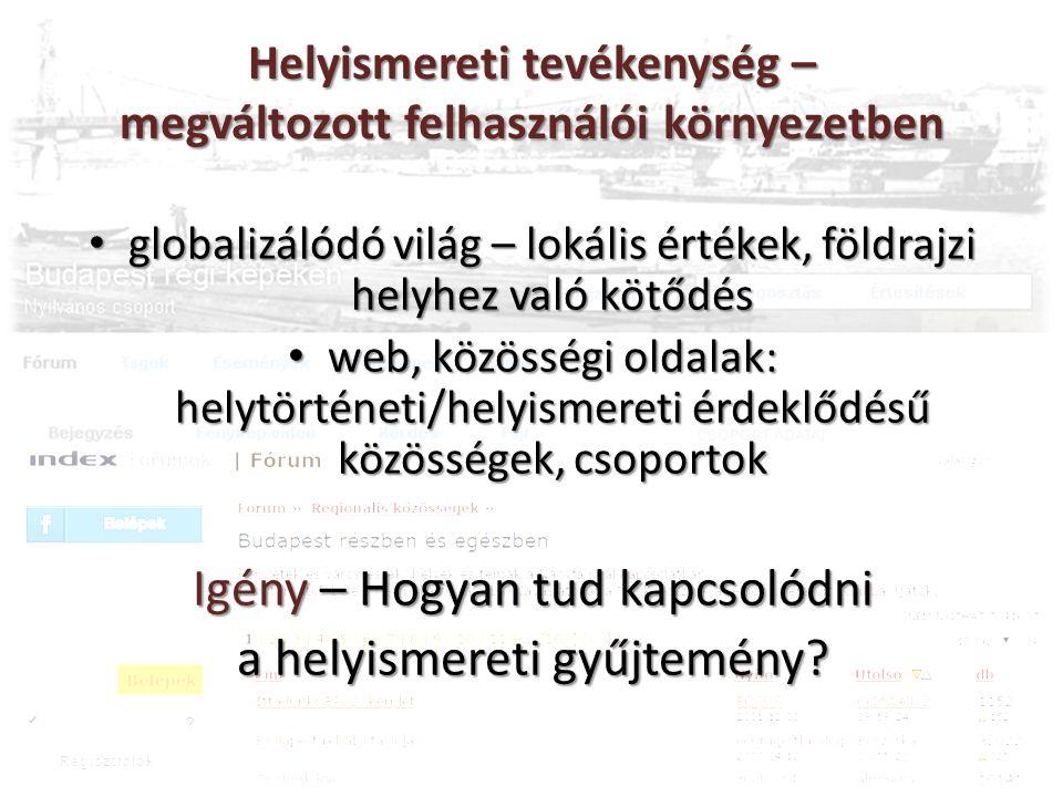Helyismereti tevékenység – megváltozott felhasználói környezetben globalizálódó világ – lokális értékek, földrajzi helyhez való kötődés globalizálódó világ – lokális értékek, földrajzi helyhez való kötődés web, közösségi oldalak: helytörténeti/helyismereti érdeklődésű közösségek, csoportok web, közösségi oldalak: helytörténeti/helyismereti érdeklődésű közösségek, csoportok Igény – Hogyan tud kapcsolódni a helyismereti gyűjtemény